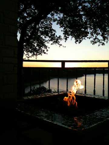 Evening-Gas-Fire-Pit-on-Back-Porch
