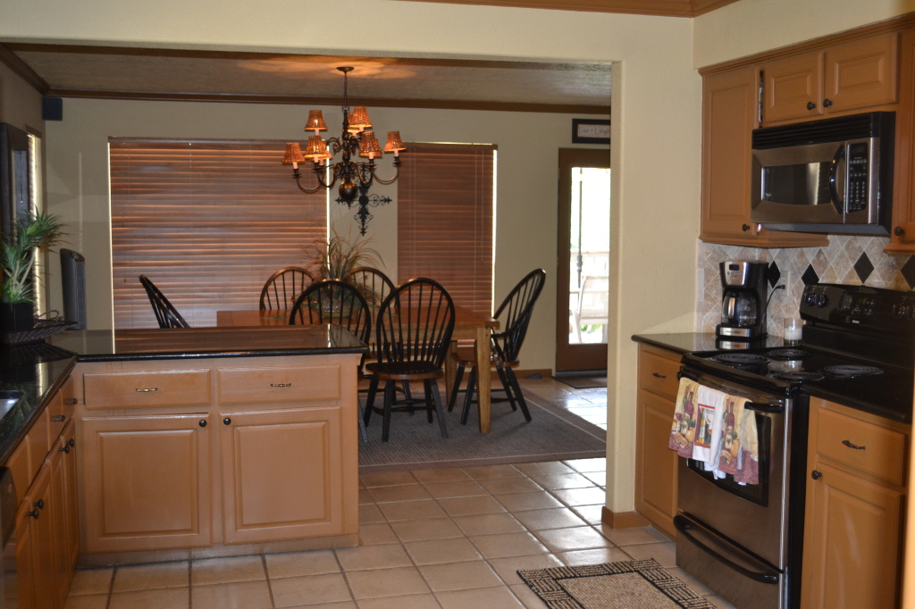 Lake Travis Paradise Kitchen looking into dining area